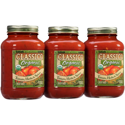 Classico Organic Tomato Herbs and Spices Pasta Sauce 3 - 96 oz Shrink Wrapped