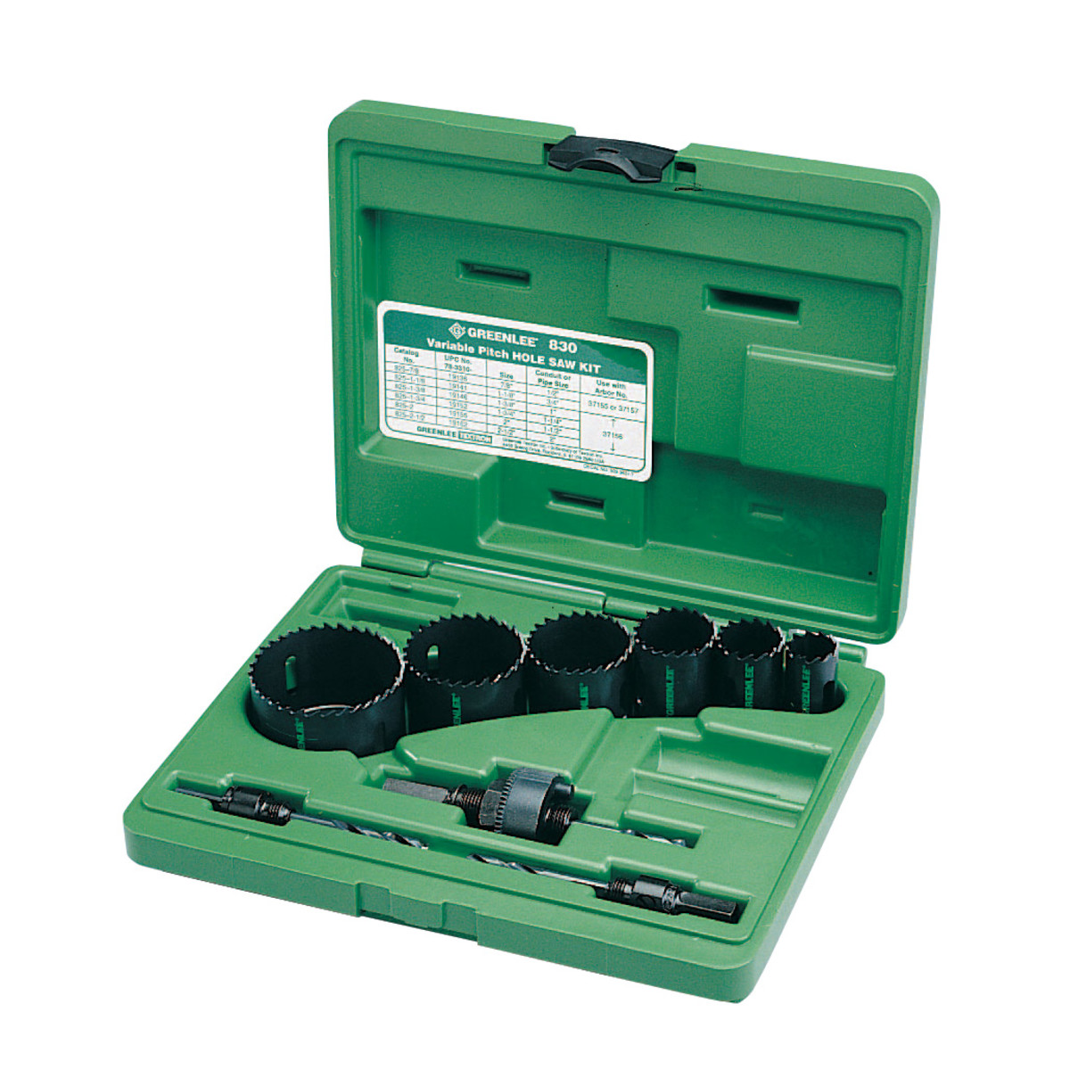 Greenlee 830 Quick Change Quick Change Hole Saw Kit, For Use With 1/2 to 2 in Conduit, Bi-Metal