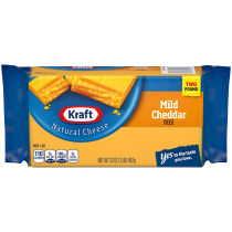 Kraft Mild Natural Cheddar Cheese Block 2 lb Wrapper