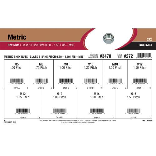 Class 8 Metric Hex Nuts Assortment (M5-0.50 thru M16-1.50)