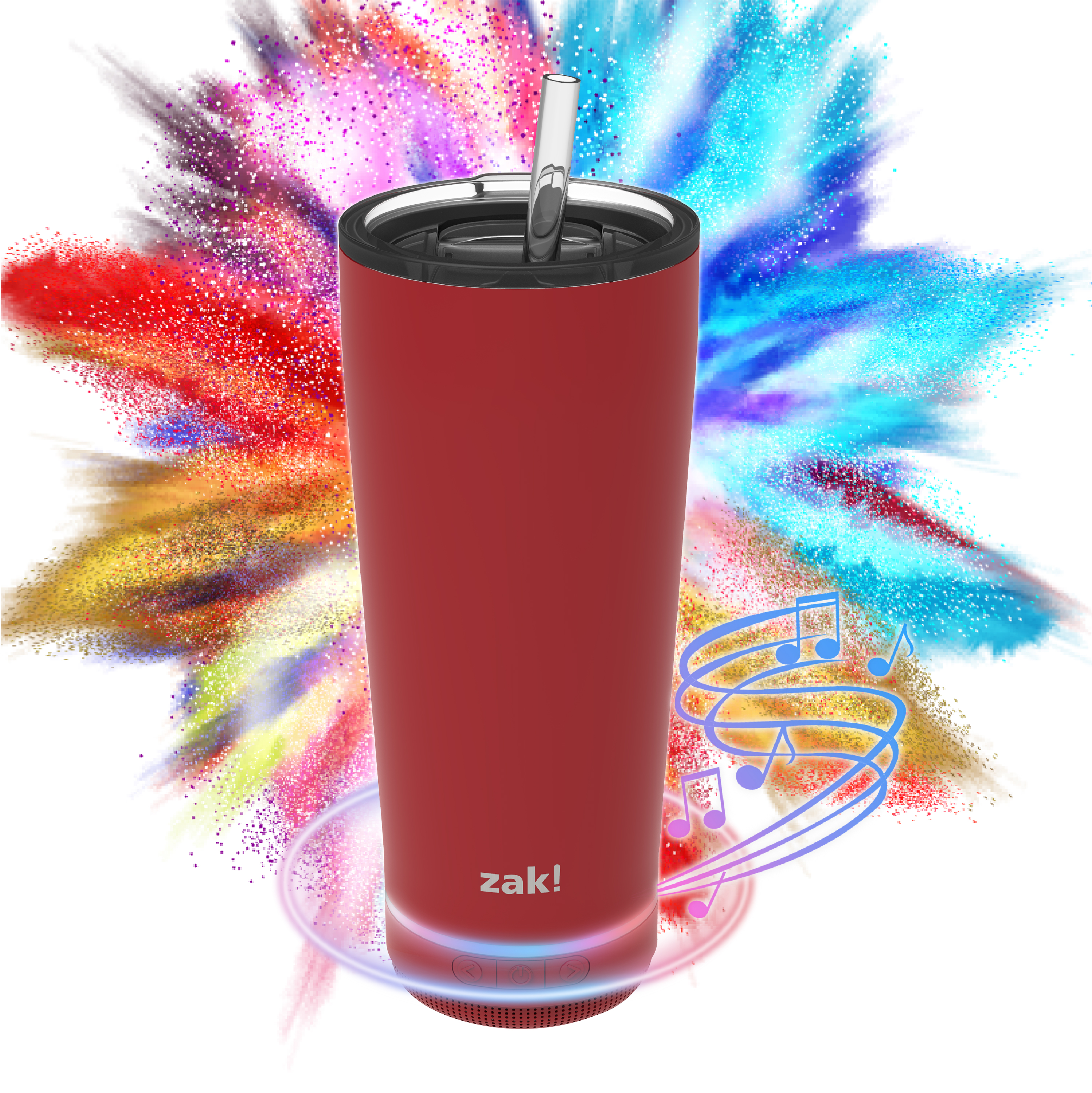 Zak Play 18 ounce Stainless Steel Tumbler with Bluetooth Speaker, Red slideshow image 14