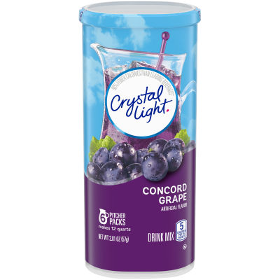 Crystal Light Concord Grape Drink Mix, 6 count Canister