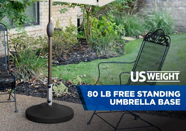 80 lb Free Standing Umbrella Base - Black 2