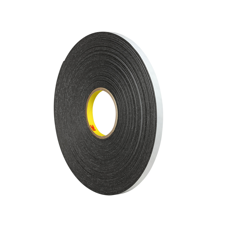3M™ Double Coated Polyethylene Foam Tape 4466, Black, 1 in x 36 yd, 62 mil, 9 rolls per case