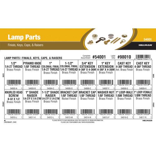 Lamp Parts Assortment (Finials, Keys, Caps, & Raisers)