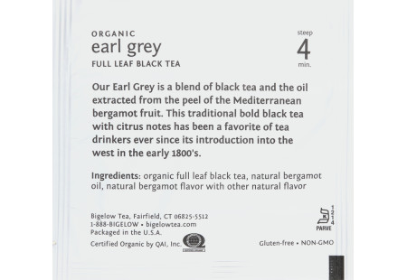 steep Café Organic Earl Grey Tea - Box of 50 pyramid tea bags