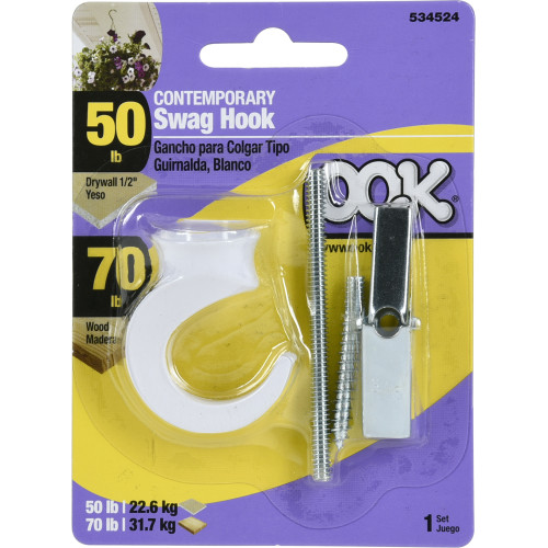 OOK Contemporary Swag Hook White (50lb)