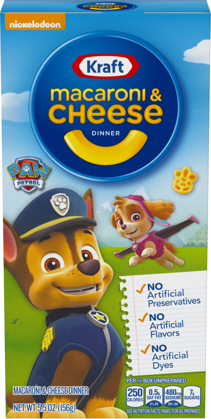 Kraft Paw Patrol Shapes Macaroni & Cheese Dinner 5.5 oz. Box image