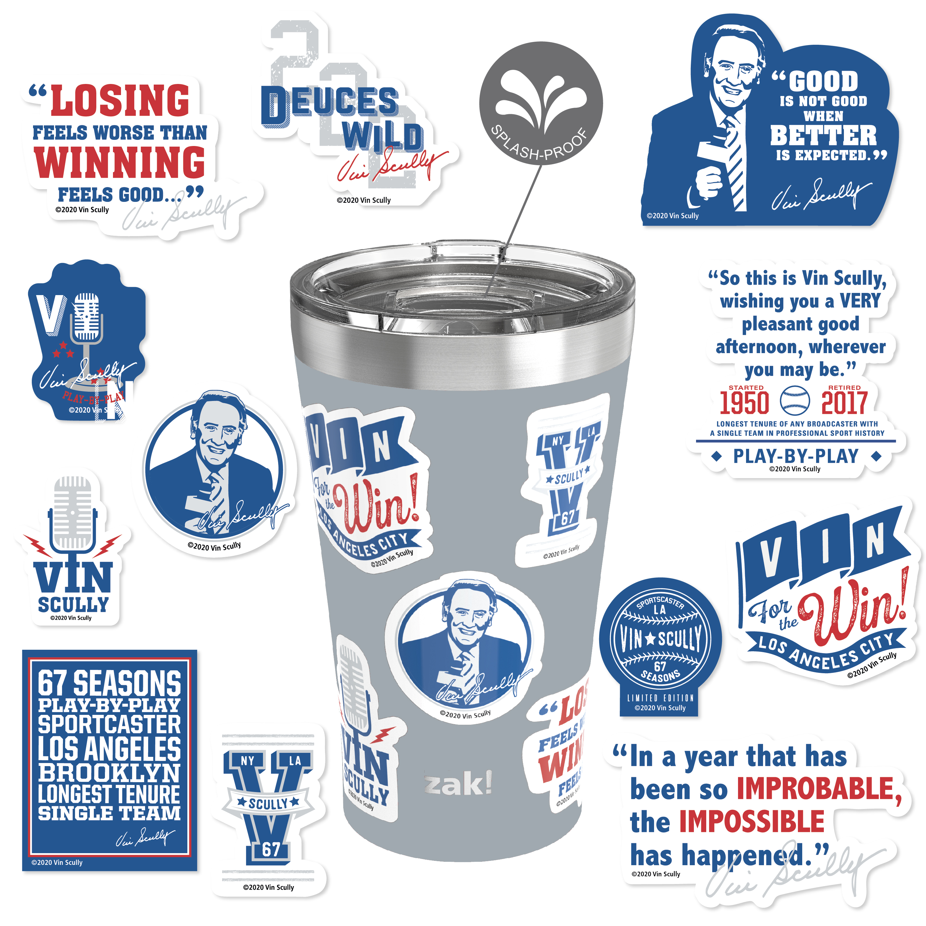 Zak Hydration 20 ounce Vacuum Insulated Stainless Steel Tumbler, Vin Scully, 2-piece set slideshow image 1