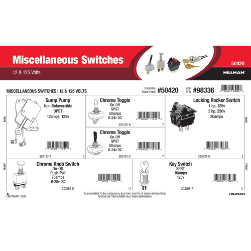 Miscellaneous Switches Assortment (12 & 125 Volts)