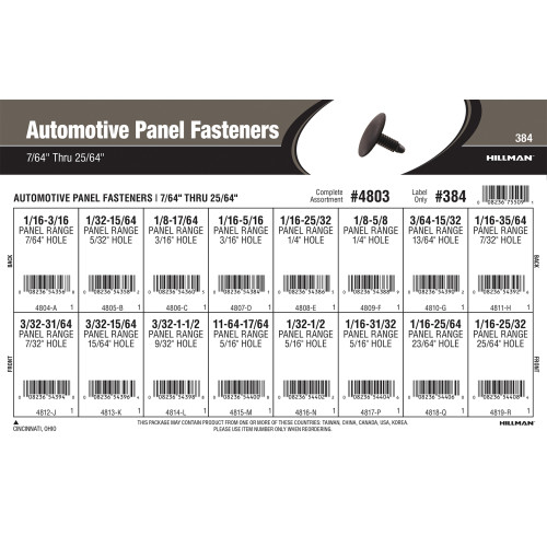 Automotive Panel Fasteners Assortment (7/64