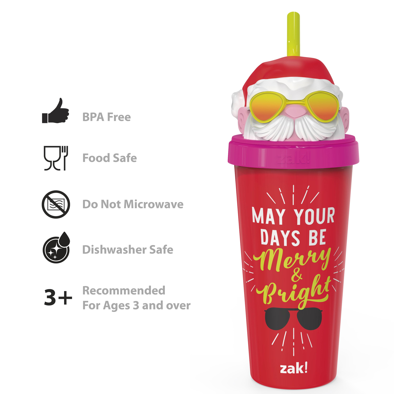 Zak Holiday 18 ounce Reusable Plastic Tumbler, Santa slideshow image 4