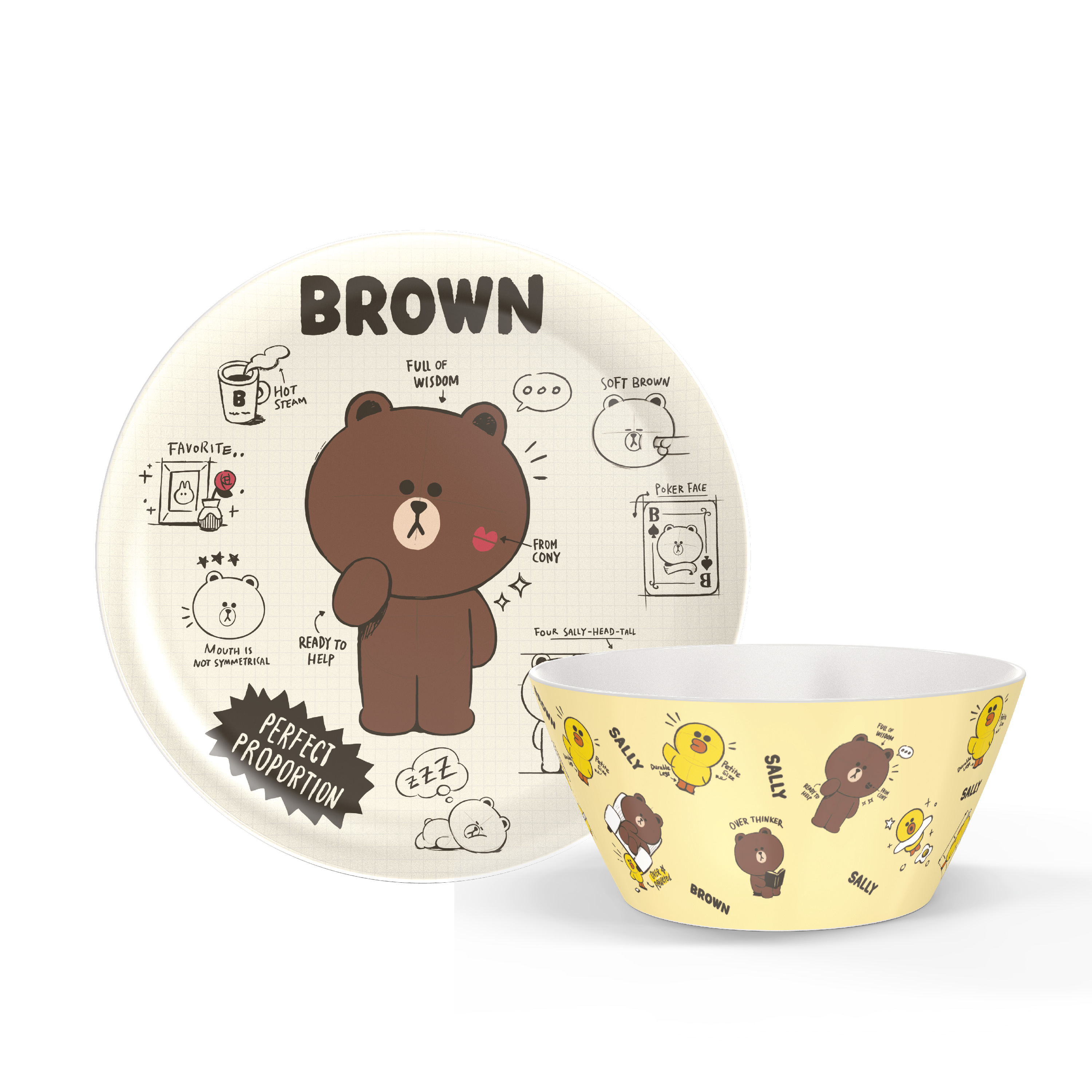 Line Friends Dinnerware Set, Teddy Bear, 2-piece set slideshow image 1