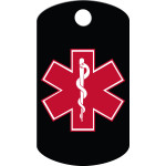 Small Military Medical ID Black and Red Quick-Tag