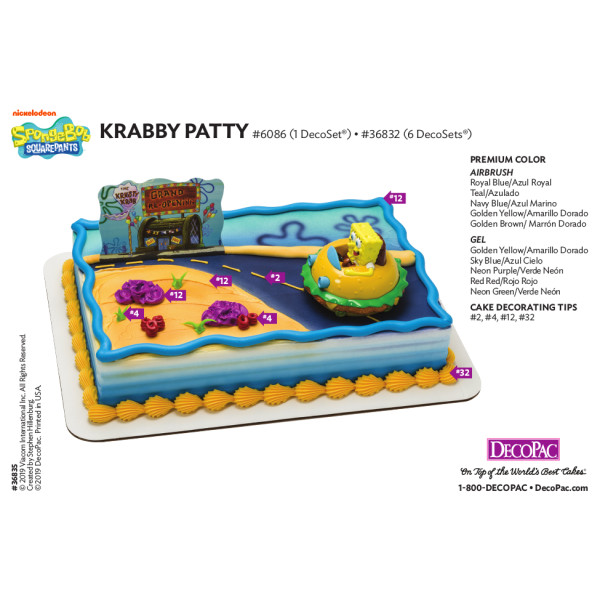 SpongeBob SquarePants™ Krabby Patty Cake Decorating Instruction Card
