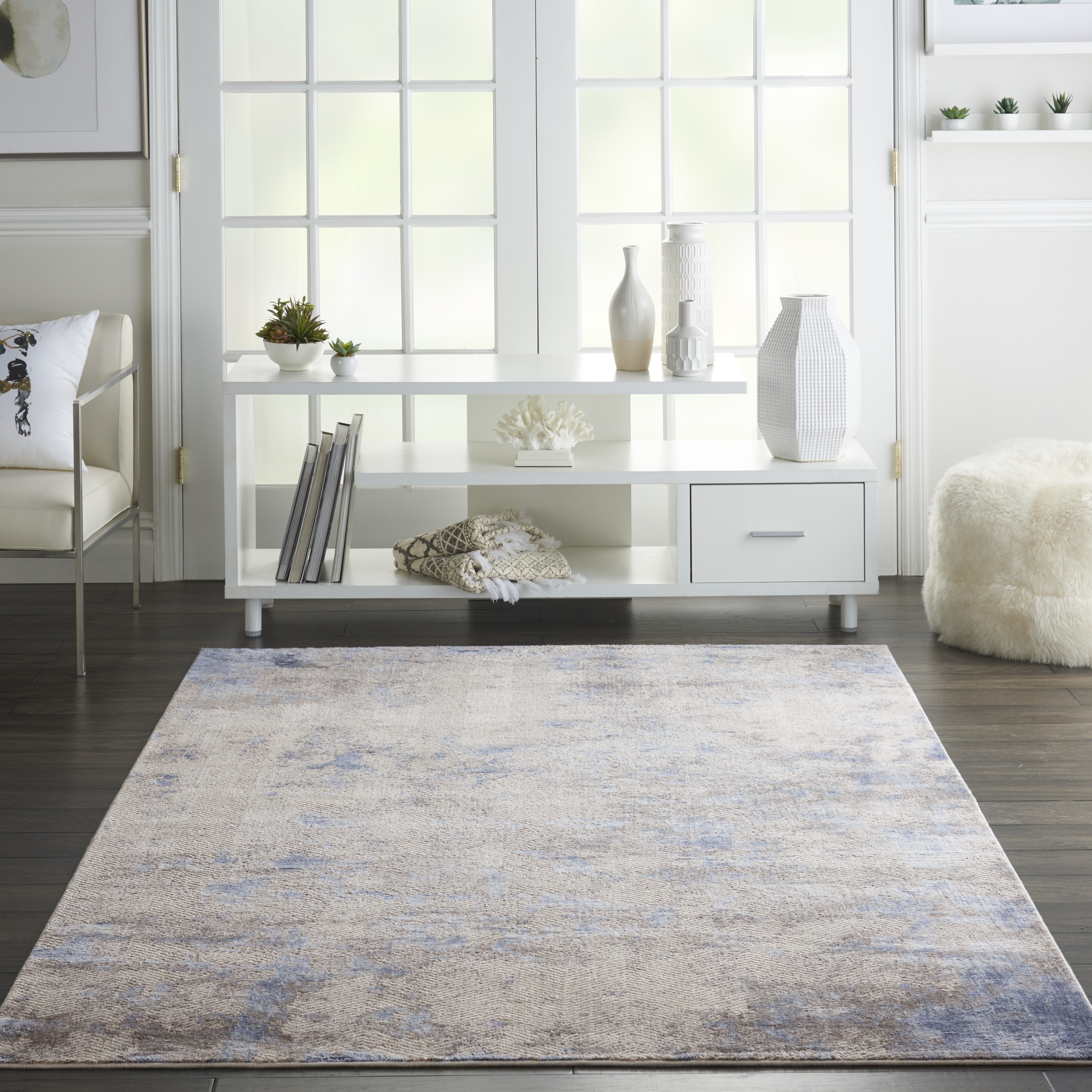 Nourison Silky Textures SLY04 Blue Ivory Grey Rug