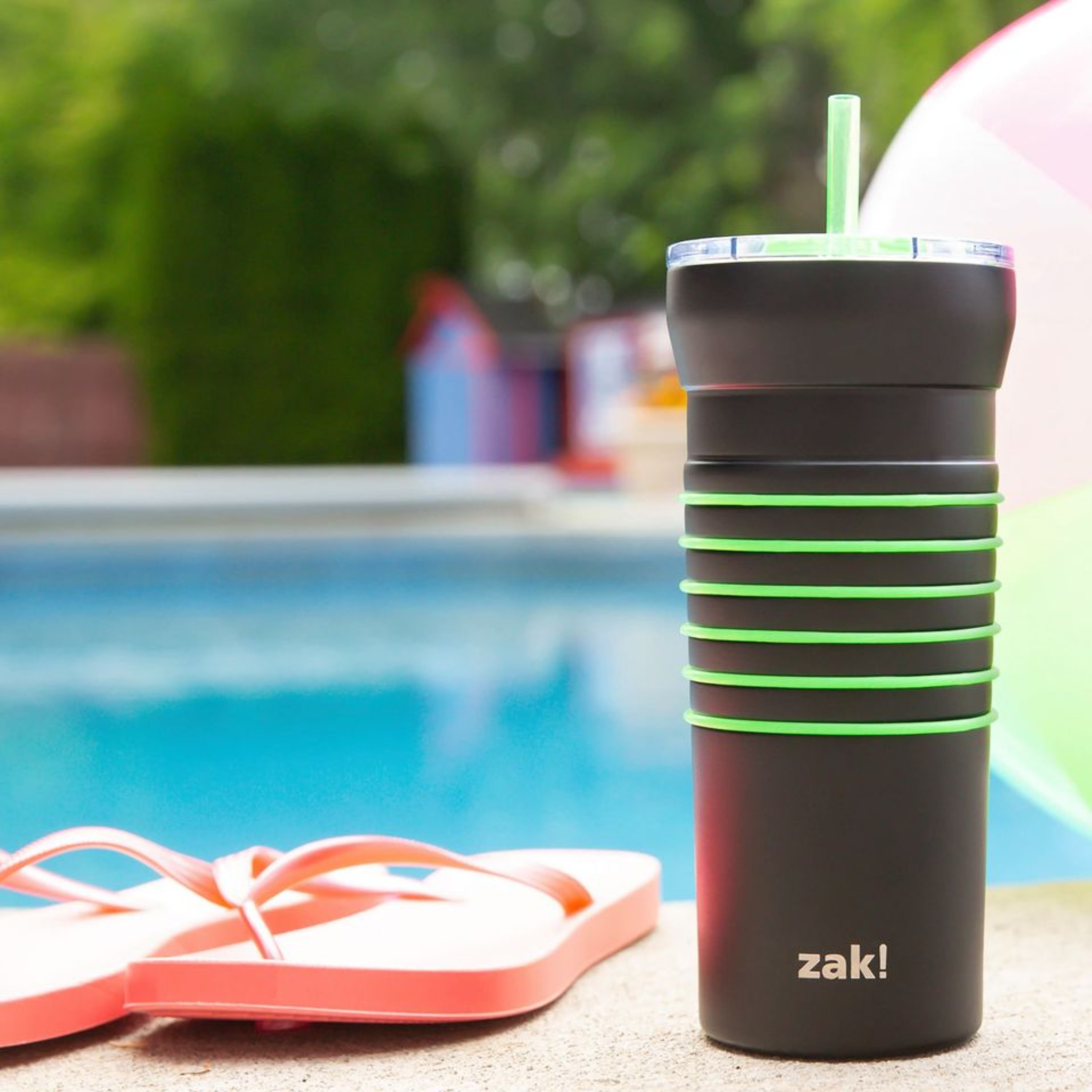 HydraTrak 20 ounce Vacuum Insulated Stainless Steel Tumbler, Black with Green Rings slideshow image 5
