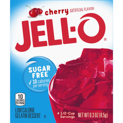 Jell-O Cherry Sugar-Free Gelatin 0.3 oz Box