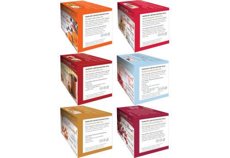 Ingredient panels of Six boxes of Bigelow Seasaonal Teas - total of 108 tea bags
