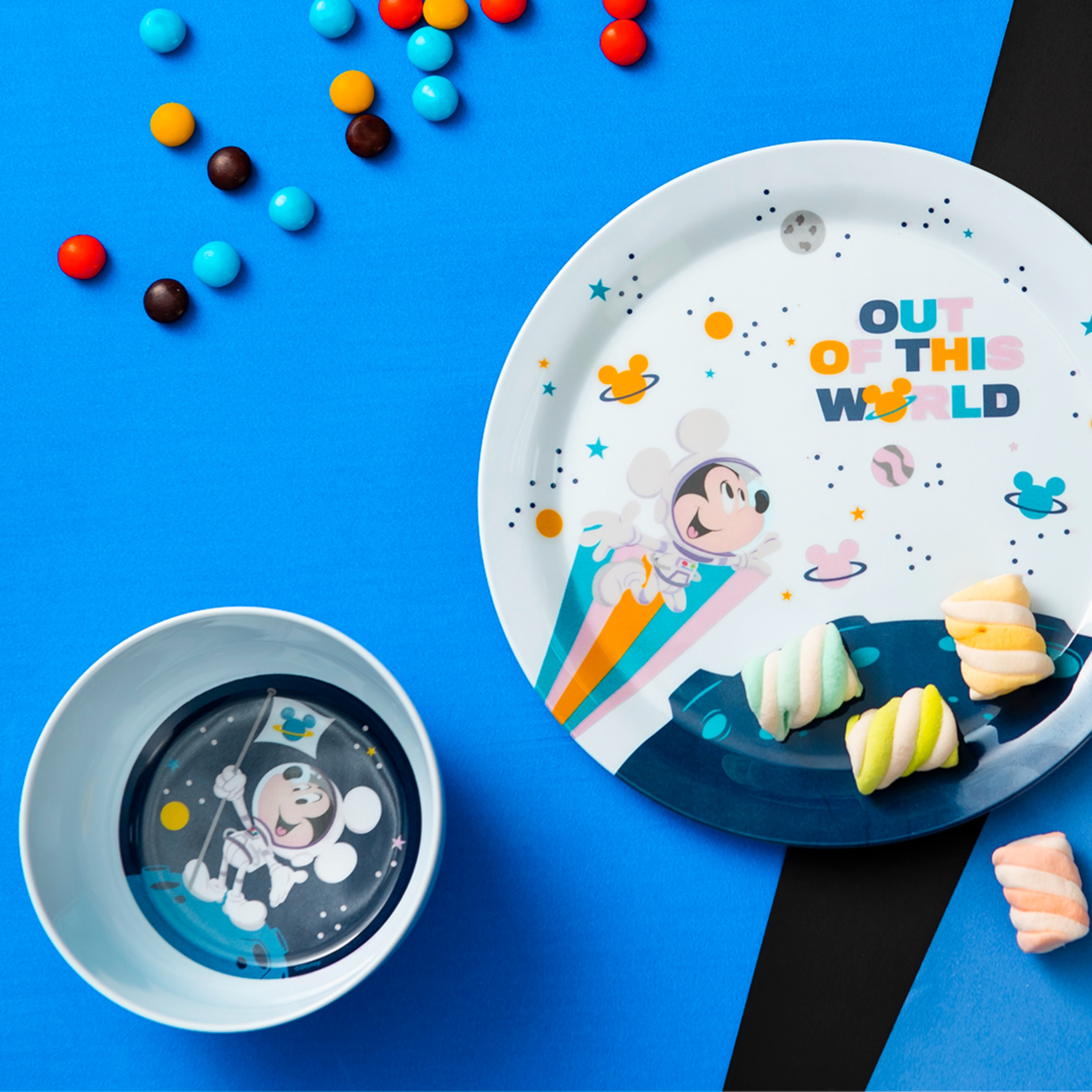 Disney Plate, Bowl, Tumbler and Flatware Set, Outer Space Mickey Mouse, 5-piece set slideshow image 3