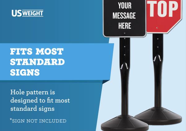 US Weight 4' Sign Post & 40 lb. Base Kit 7