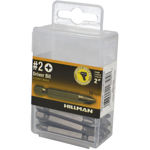 Hillman #2 Phillips Steel Hex Shank Screwdriver Bit Set (10 Piece)
