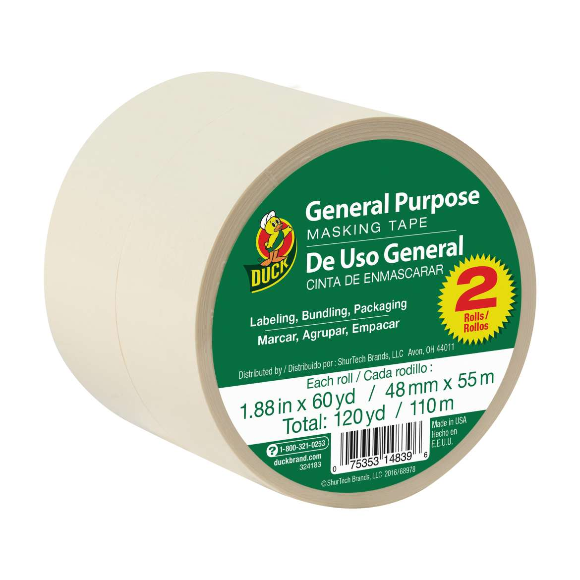 Duck® Brand General Purpose Masking Tape - Beige, 2 pk, 1.88 in. x 60 yd. Image