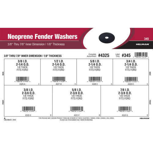 Neoprene Fender Washers Assortment (3/8