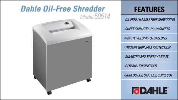 Dahle 50514 Oil Free Department Shredder InfoGraphic