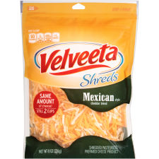 Velveeta Shreds Mexican Style Cheddar Blend 8 oz Pouch