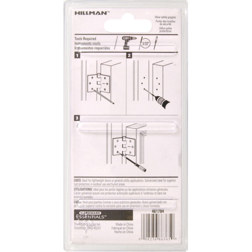 Hardware Essentials General Purpose Hinges Fixed Pin Galvanized 4