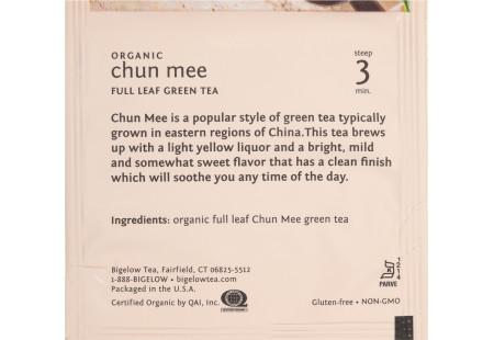 steep cafe by Bigelow organic full leaf chun mee green tea pyramid bag in overwrap - ingredient list