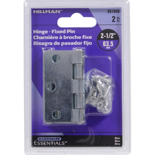 Hardware Essentials General Purpose Hinges Removable Pin Zinc-plated 2-1/2