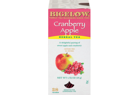 Front of Bigelow Cranberry Apple Herbal Tea box