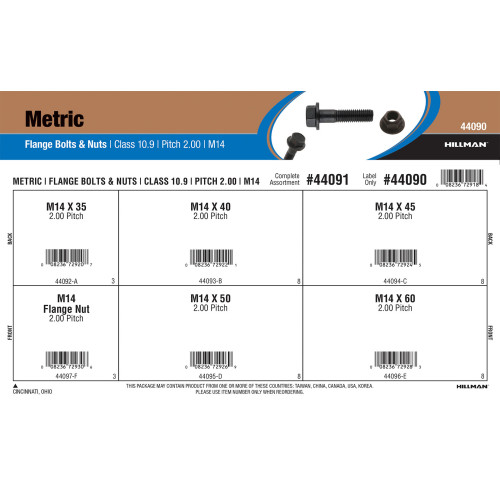 Class 10.9 Metric Flange Bolts & Nuts Assortment (M14-2.00 Thread)