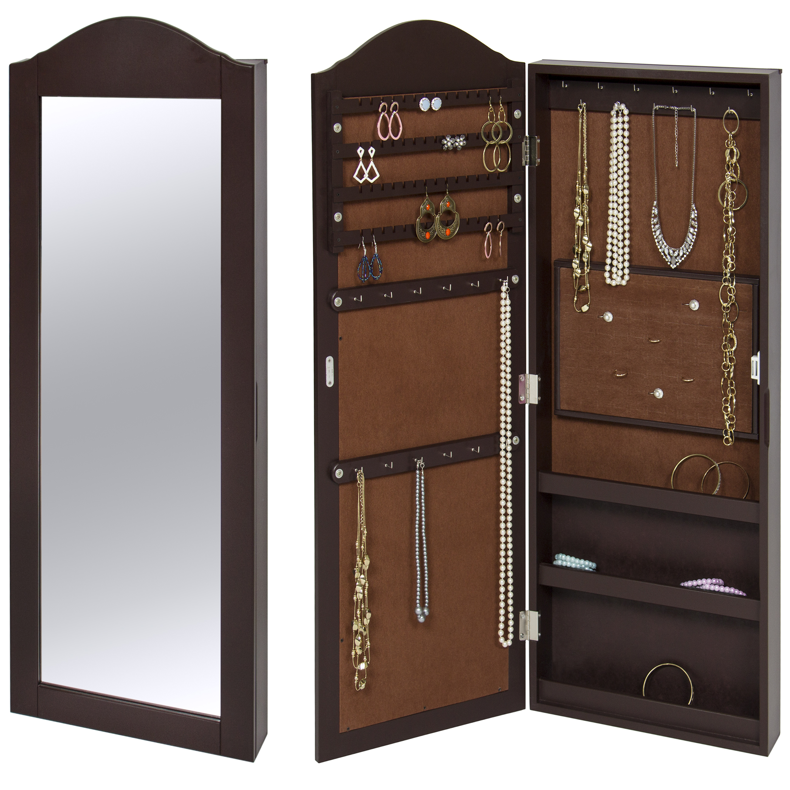 mirrored jewelry cabinet best choice products wall mounted mirror jewelry cabinet 23407