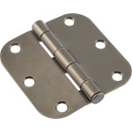 "Hardware Essentials 5/8"" Round Corner Pewter Door Hinges (3"")"
