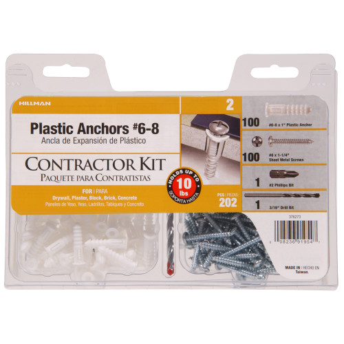 White Ribbed Plastic Anchor Contractor Kit #6-8 x 1