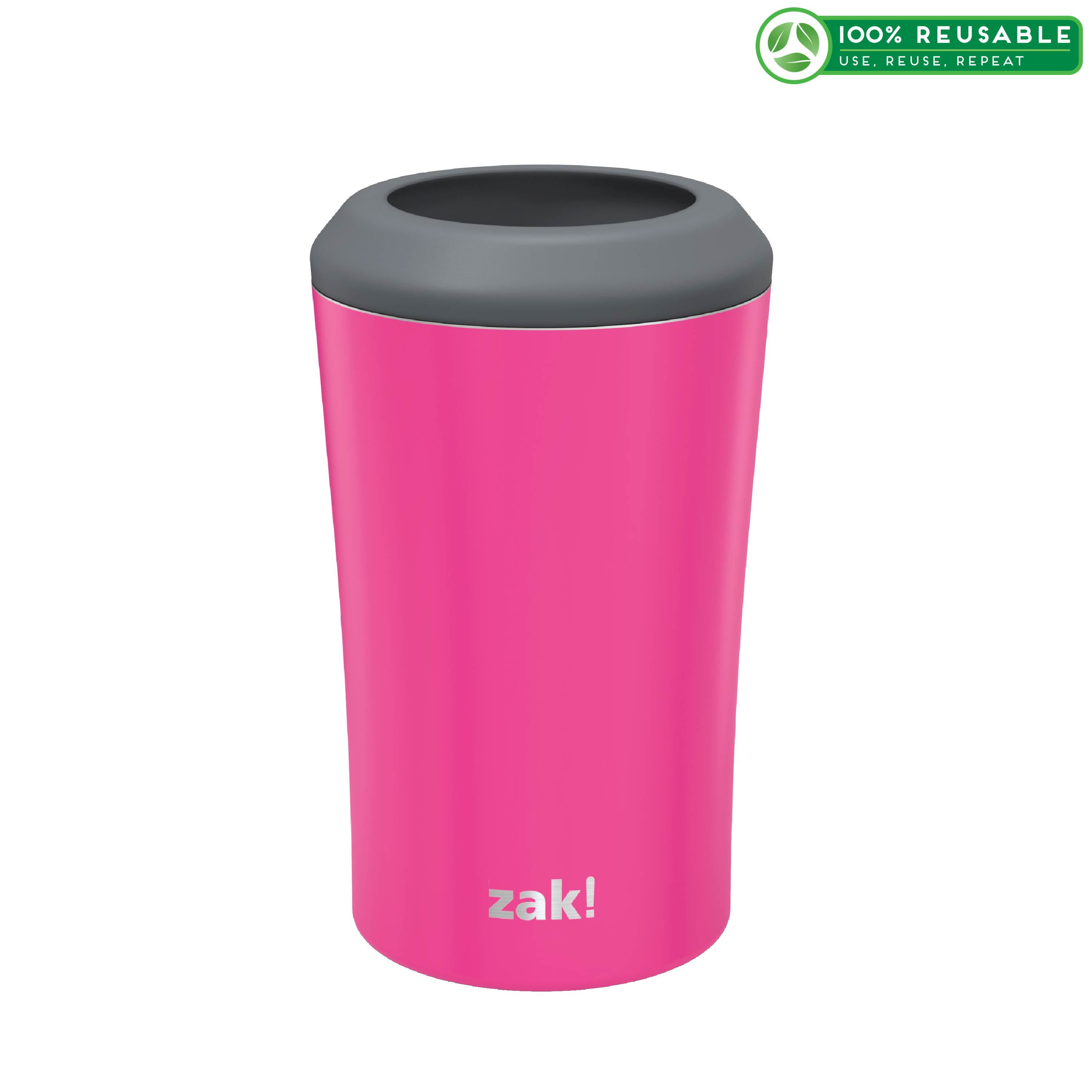 Zak Hydration 12 ounce Double Wall Stainless Steel Can and Bottle Cooler with Vacuum Insulation, Raspberry slideshow image 1