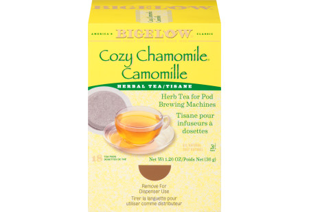 Front facing Cozy Chamomile Herbal Tea for Pod Machine tea box