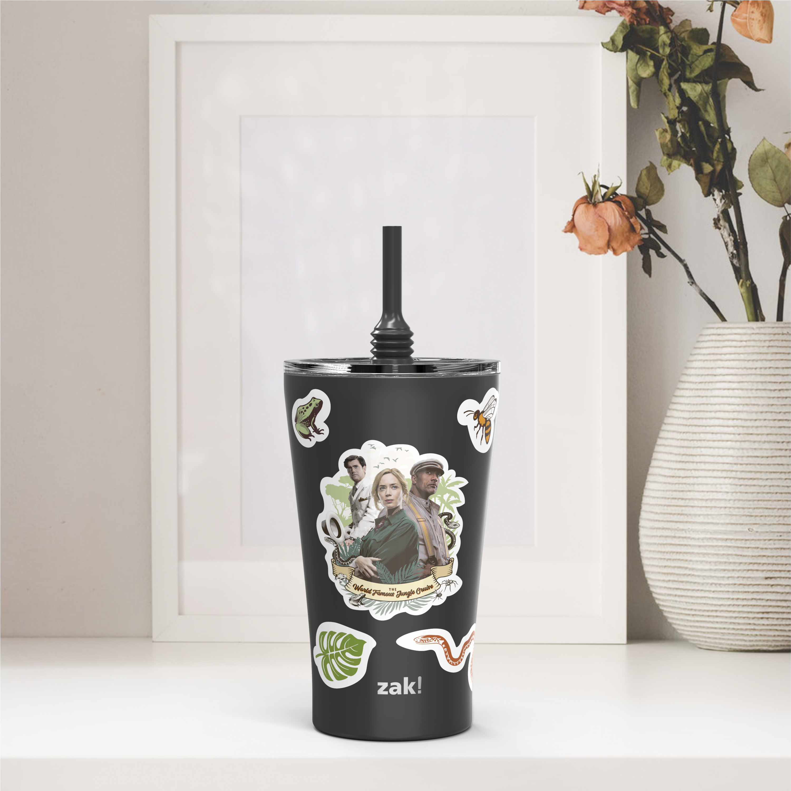 Jungle Cruise 20 ounce Insulated Tumbler with Stickers, Frank and Lily slideshow image 6