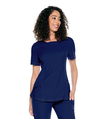 Urbane Align 3 Pocket Scrub Top for Women: Contemporary Slim Fit, Super Stretch, Crew Neck Medical Scrubs 9166-