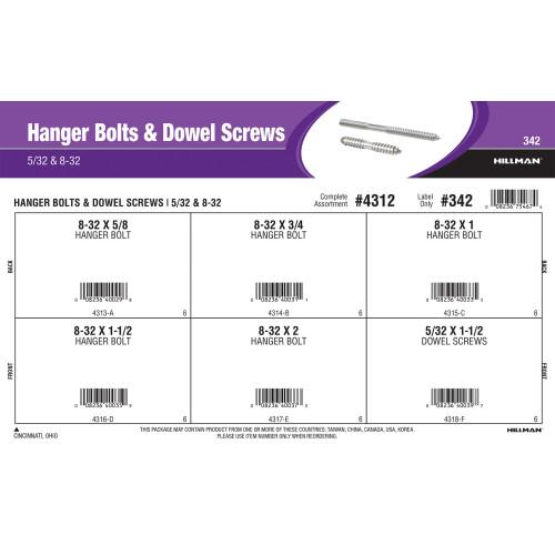Hanger Bolts & Dowel Screws Assortment (5/32