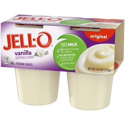 Jell-O Ready to Eat Vanilla Pudding Snack 15.5 oz Sleeve (4 Cups)