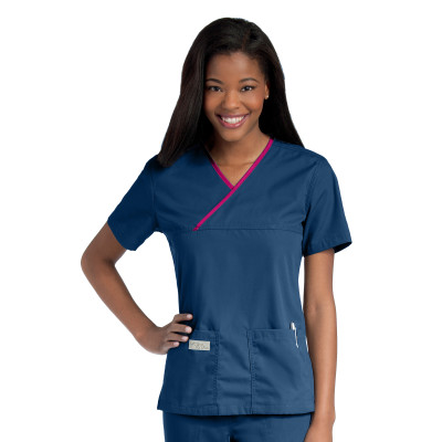 Urbane Essentials Scrub Top for Women: Classic Relaxed Fit, Mock Wrap, 2 Pockets, Medical Scrubs 9534-