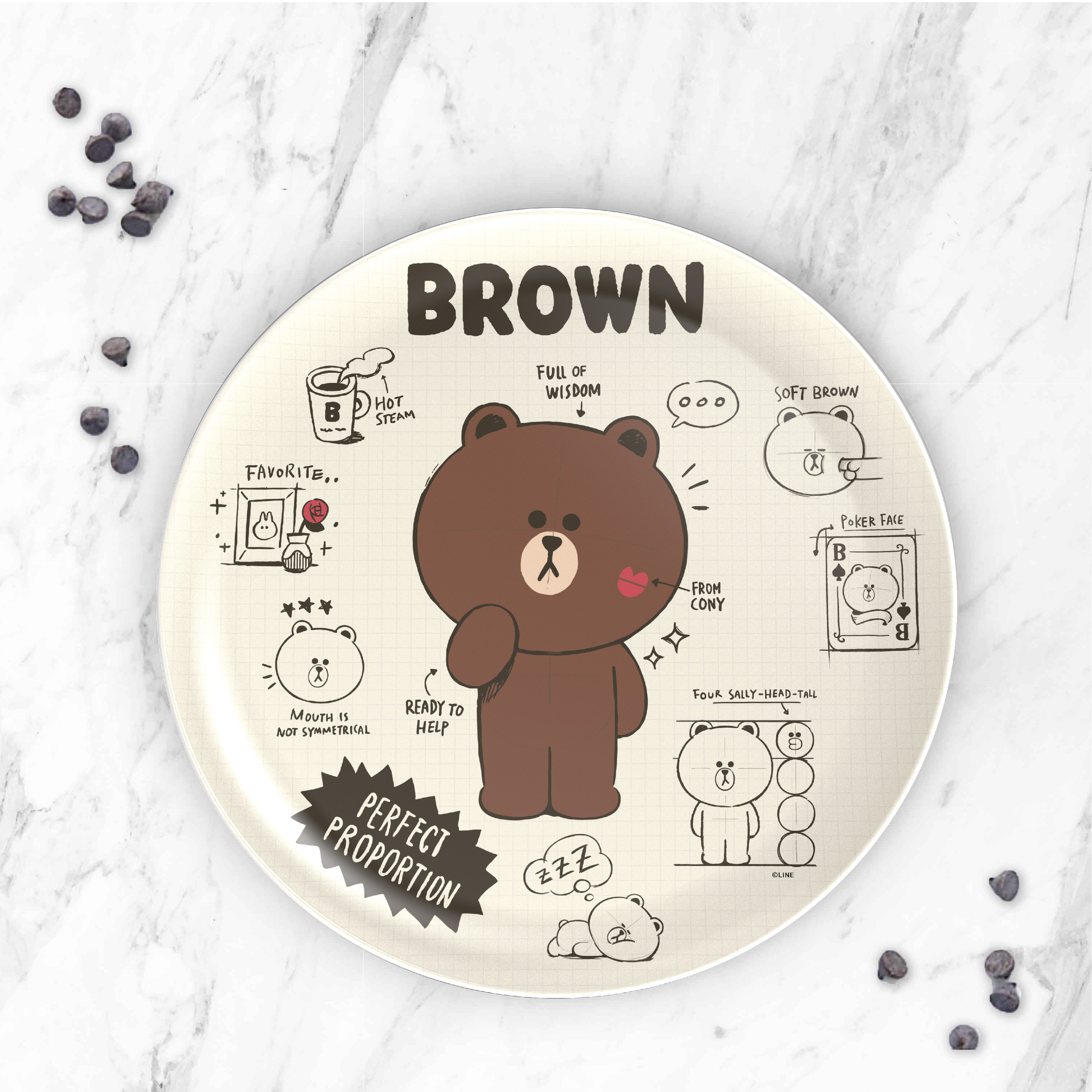 Line Friends Dinnerware Set, Teddy Bear, 2-piece set slideshow image 6