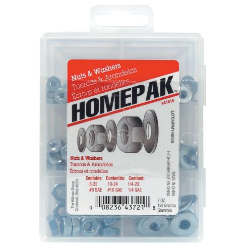 HOMEPAK Zinc-Plated Nuts & Washers Assortment Kit