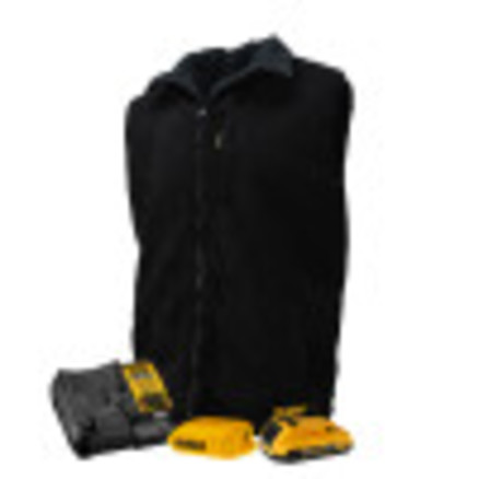 DEWALT® Unisex Heated Reversible Fleece Vest Kitted Black