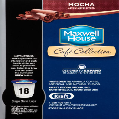 Maxwell House Cafe Collection Mocha Coffee Single Serve Cups, 18 count
