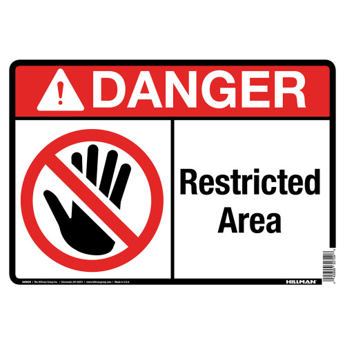 Danger Restricted Area Sign with Symbol (10